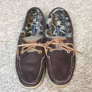 Sperry Angelfish Animal Print Fur Lined Boat Shoes